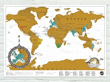 The Luckies Scratch Map shows you past travel destinations.