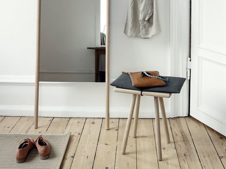 Wooden stool and mirror from the Georg series by the manufacturer Skagerak