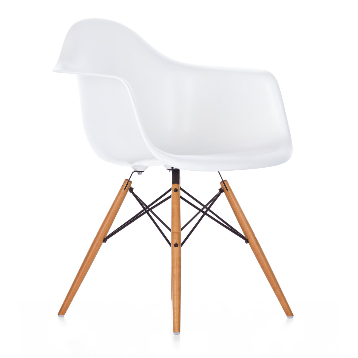 Vitra   Eames Plastic Armchair DAW  yellowish maple   white  felt glides. Eames DAW chair by Vitra in our Design Shop