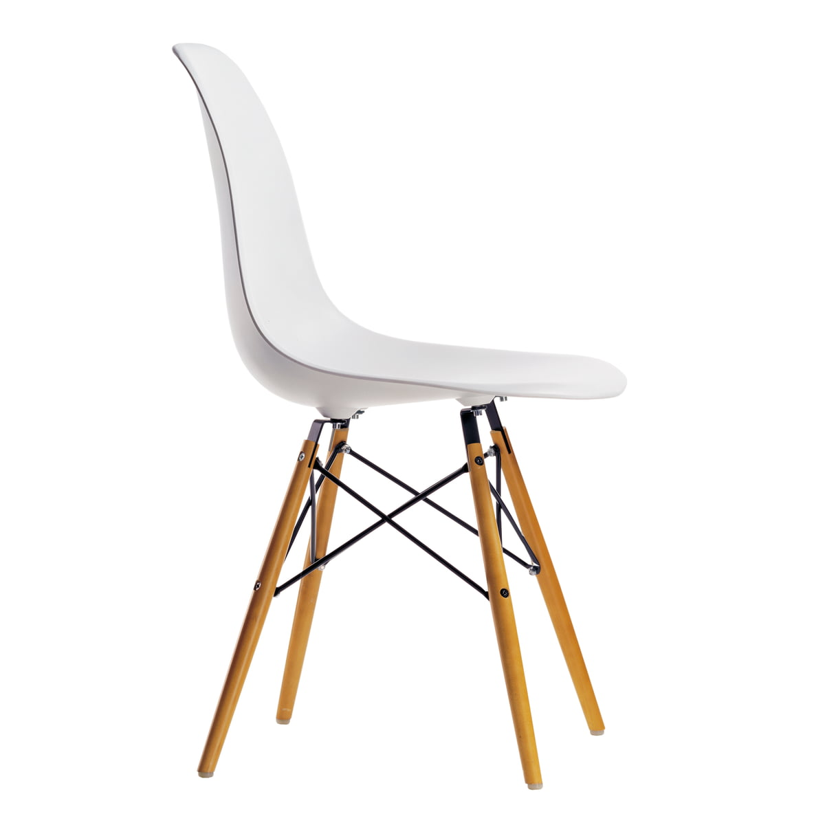 Vitra Promotion Set Eames Plastic Side Chair Dsw Set Of 4 Maple Yellowish White Felt Glider White