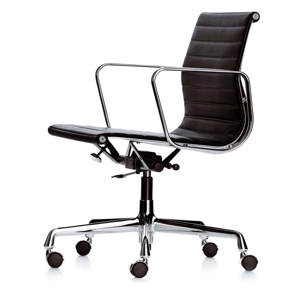Vitra - Alu-Chair EA 9, chrome, swivel, armrests, hopsak, black