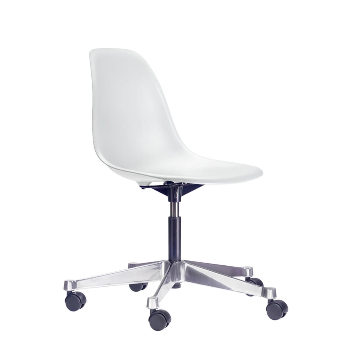 Vitra Eames Plastic Side Chair Pscc White Rolls For Hard Floors
