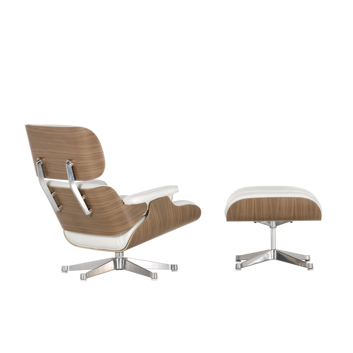 Vitra Eames Lounge Chair Ottoman Walnut White Polished