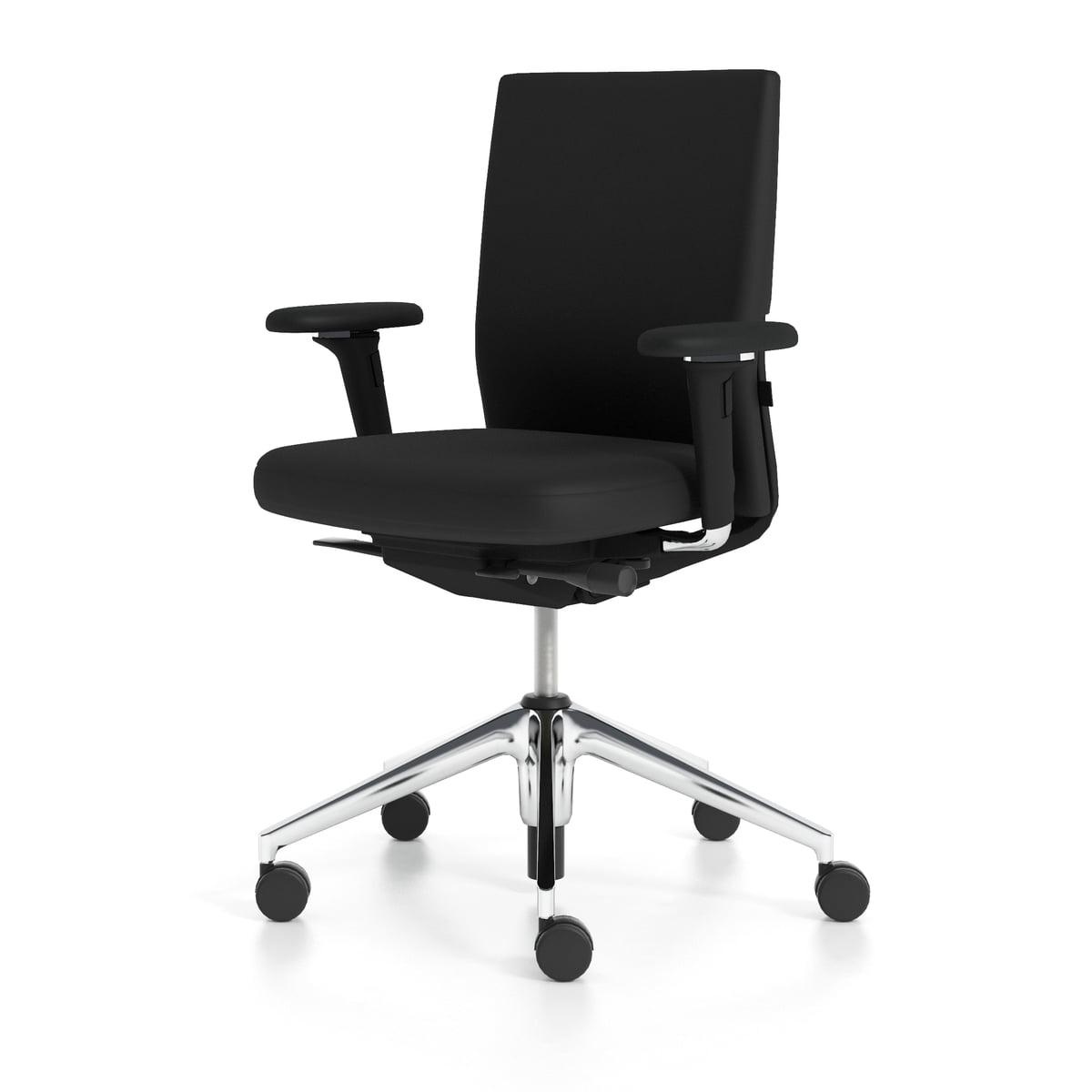 Vitra - ID Soft Black Special with forward tilt, with seat depth  adjustment, Trevira CS black / basic dark (hard castors)