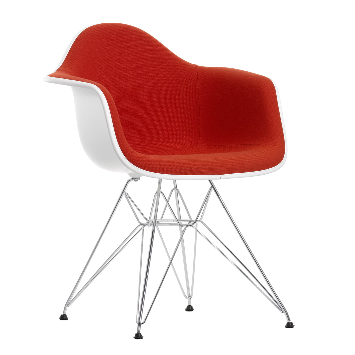 Eames Plastic Armchair DAR   Full Upholstery, Hopsak Red/orange