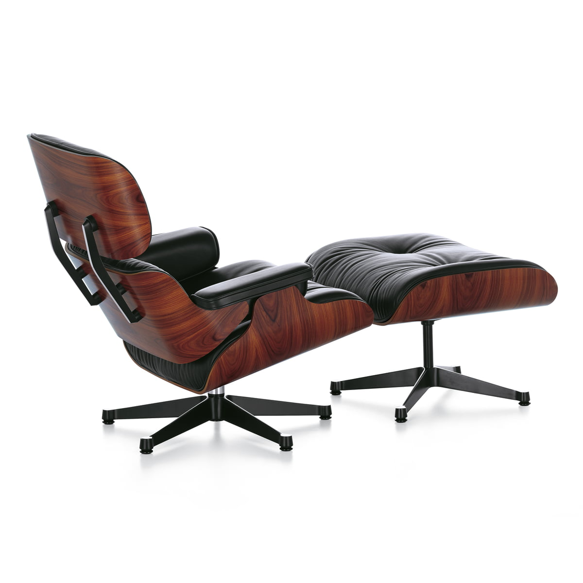 Incredible Vitra Lounge Chair Ottoman Polished Sides Black Rosewood Classic Creativecarmelina Interior Chair Design Creativecarmelinacom