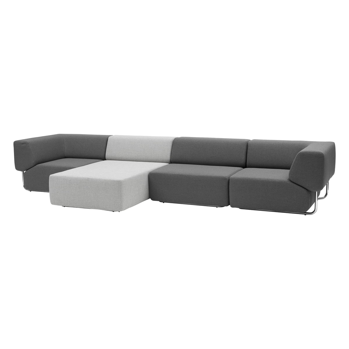 Softline   Noa, Three Elements, Dark Grey, Chaise Longue Light G
