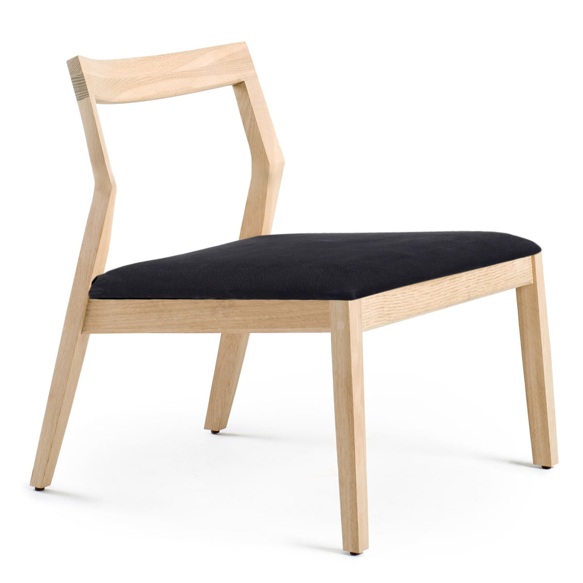 Knoll   Lounge Chair Without Armrests, Oak / Black Divina
