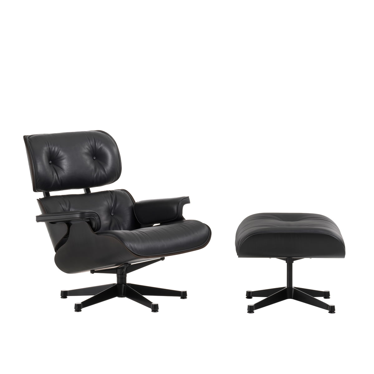 Vitra lounge chair ottoman in black ash for Vitra lounge chair nachbau