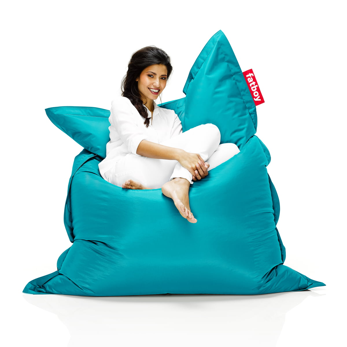 Fatboy Original Beanbag Situation With Woman On Turquoise