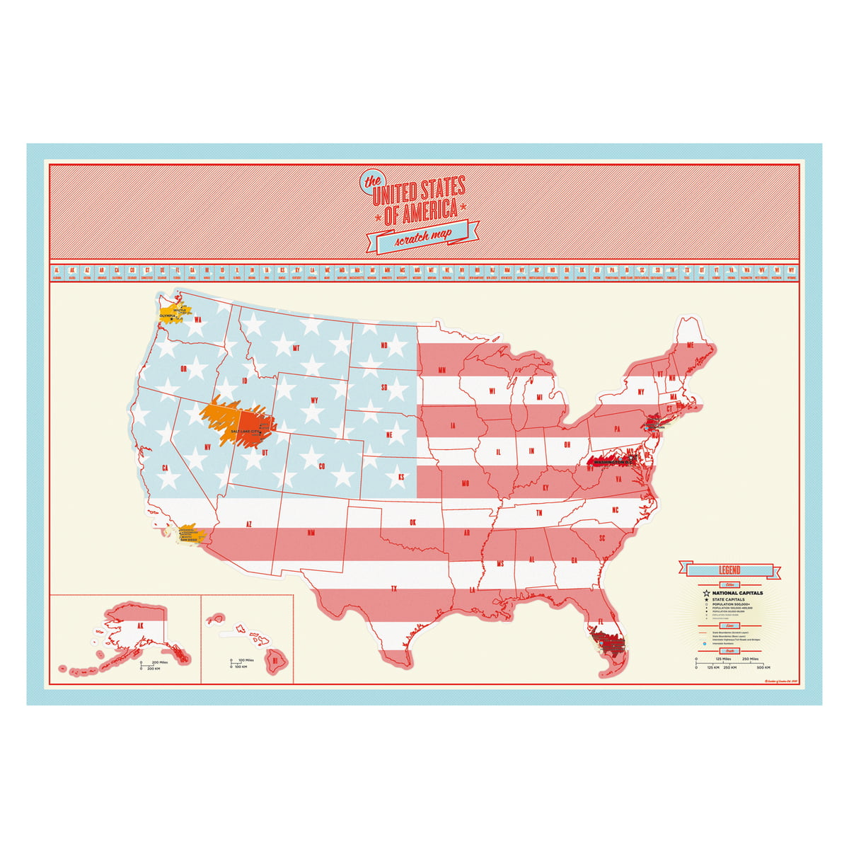 The Scratch Map Usa By Luckies In The Shop - Scratch-us-map