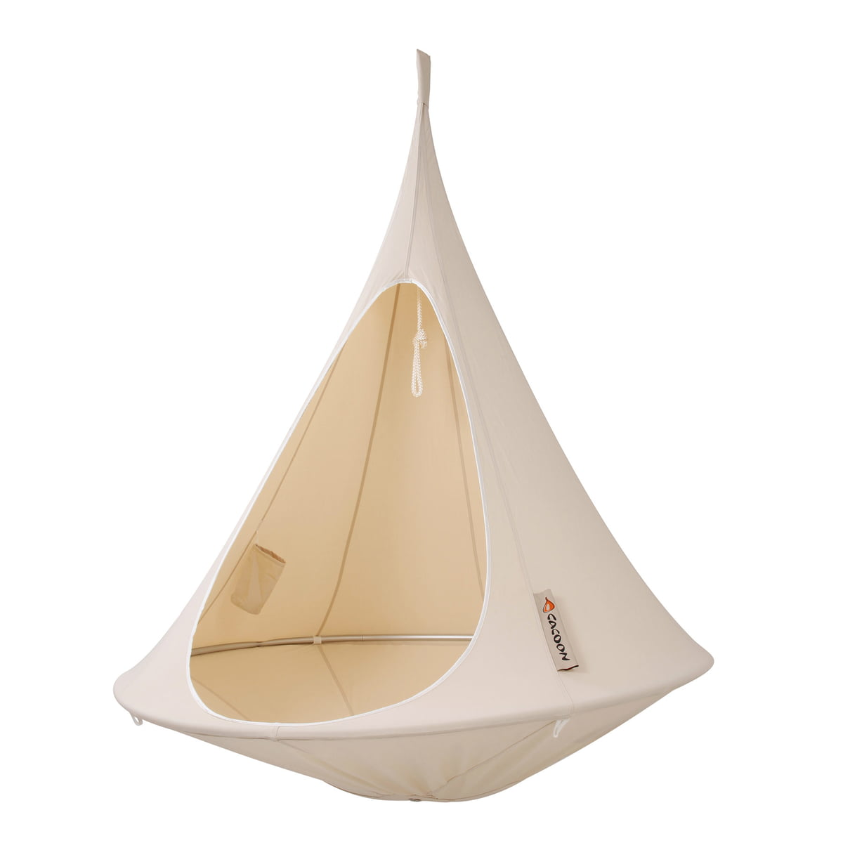 Cacoon   Single Hanging Chair, Natural White