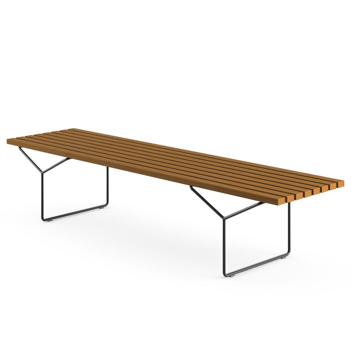 Knoll   Bertoia Outdoor Bench, Teak, Black