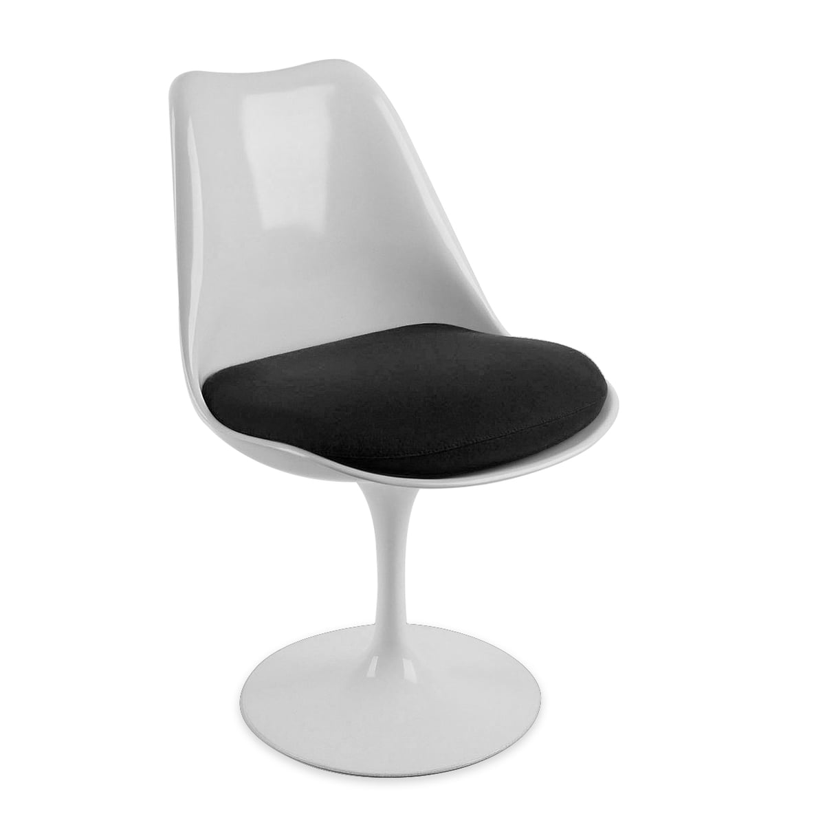 Knoll   Saarinen Tulip Chair, White / Chair Cushion Black