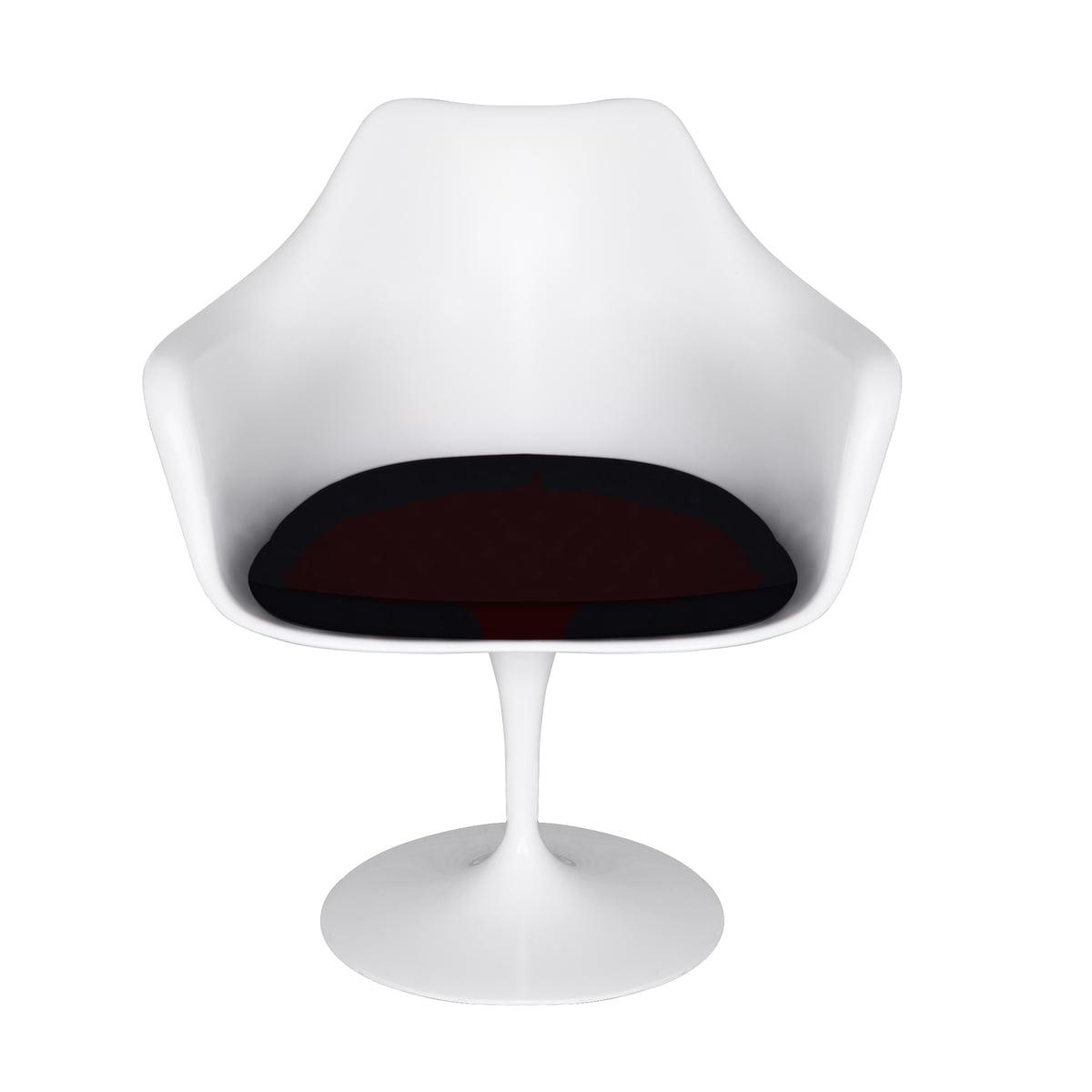 Knoll Saarinen Tulip Armchair Rotating White Cushion Tonus Black 128
