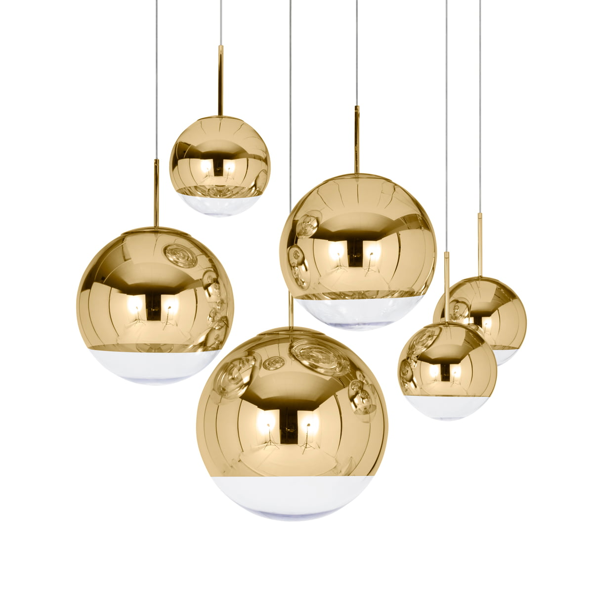 Captivating Tom Dixon   Mirror Ball Gold Pendant Lamp