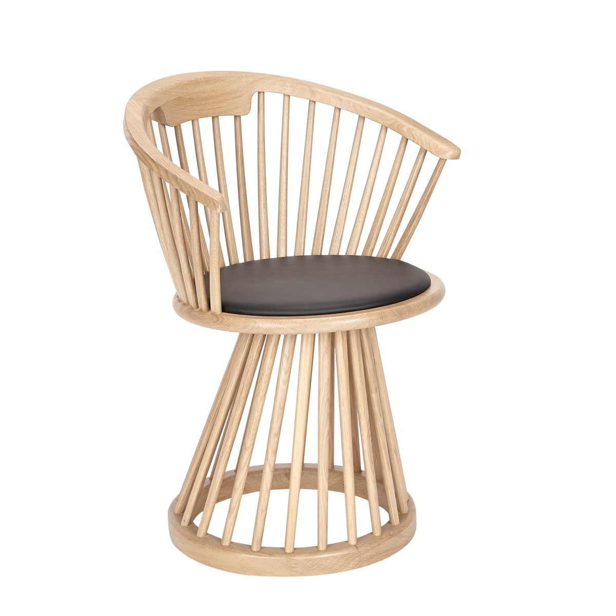 Fan dining chair by tom dixon made of natural oak