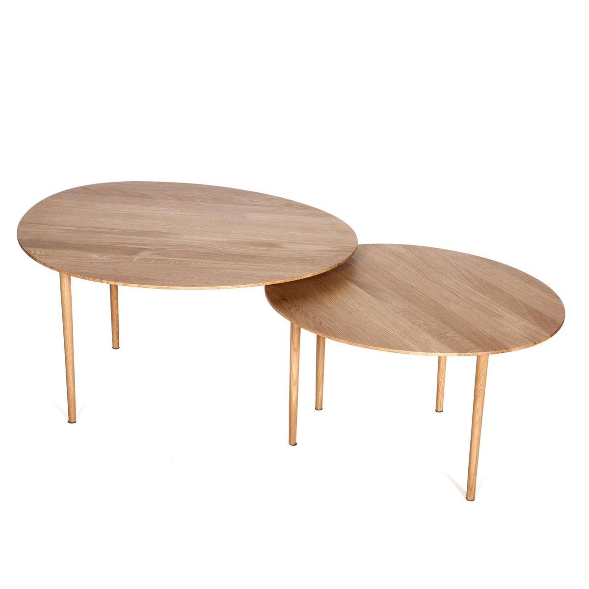 Hans Hansen - Nenufar Side Table Set of 2 solid oak top view  sc 1 st  Connox & Nenufar Side Tables by Hans Hansen
