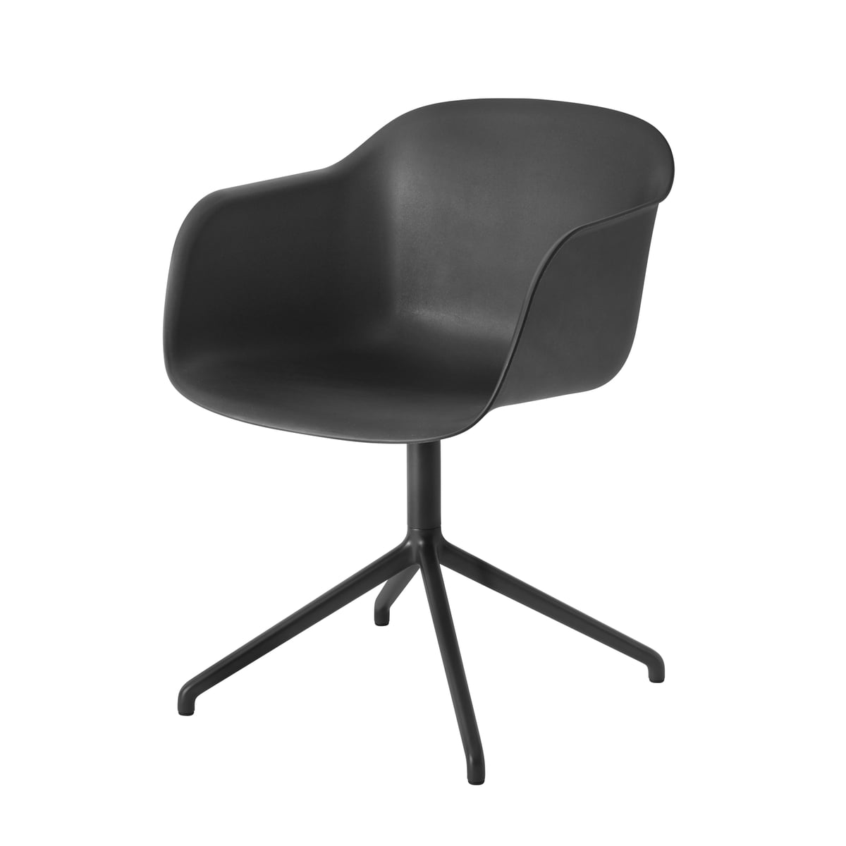 Muuto   Fiber Chair   Swivel Base, Black / Black