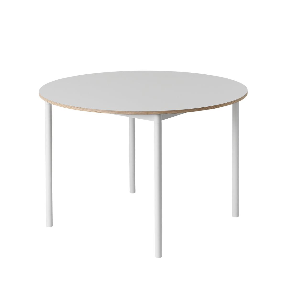 Muuto Base Table O 110 Cm White Plywood Edge