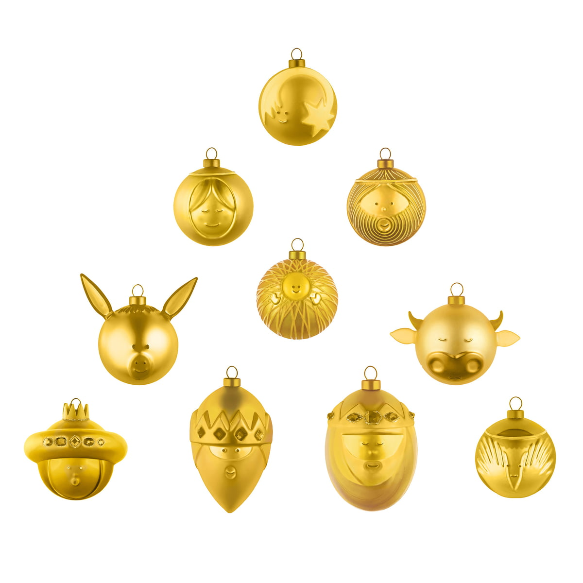 Golden Christmas Tree Balls Set Of 10 By A Di Alessi