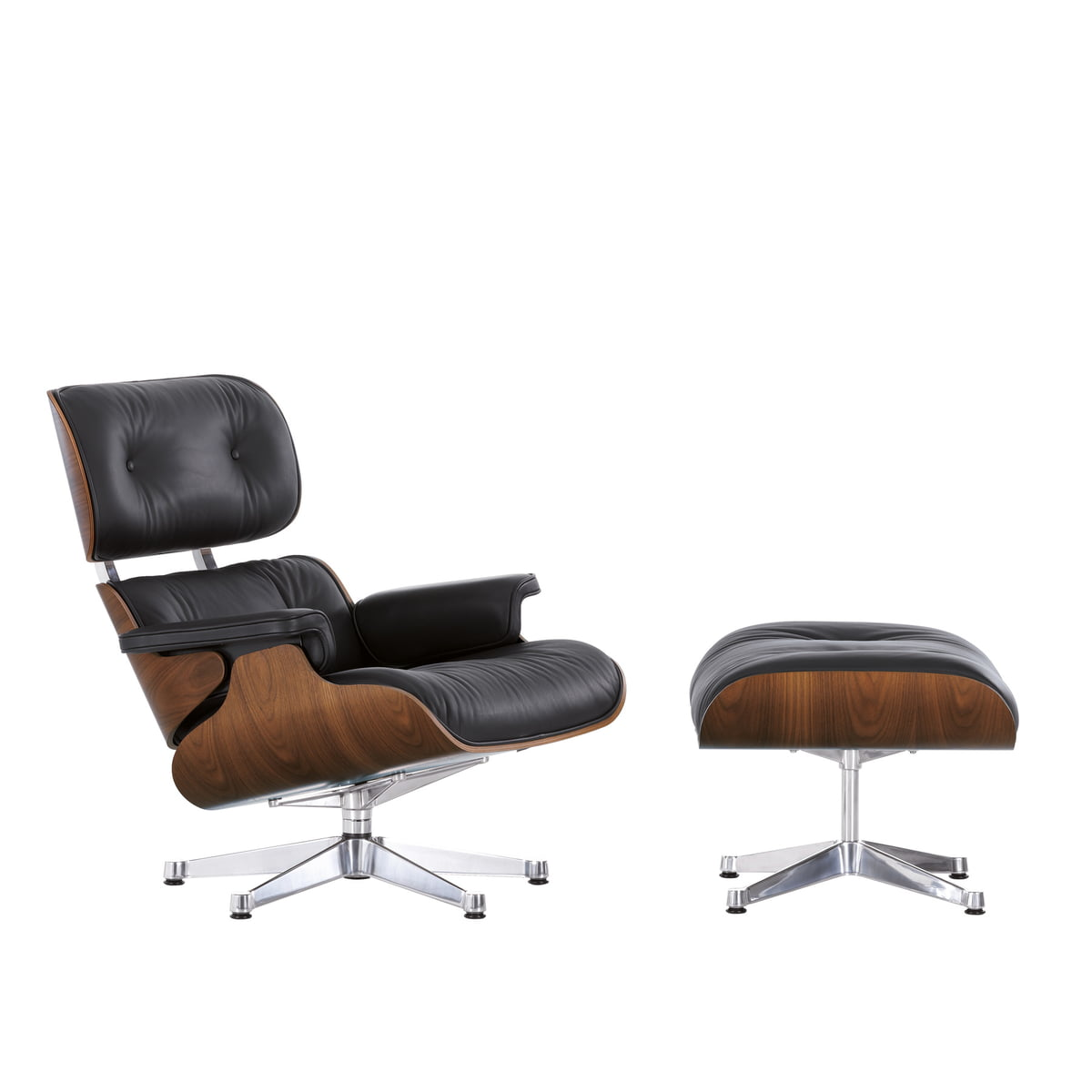 Vitra Lounge Chair Ottoman In Walnut Chrome Plated