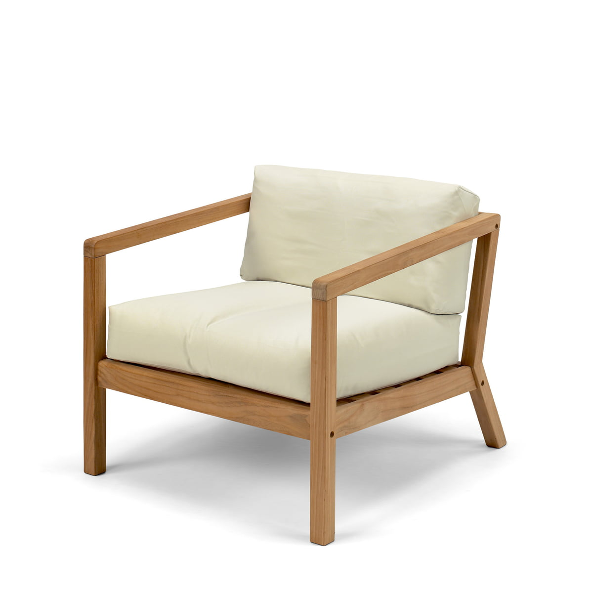 Elegant Virkelyst Chair By Skagerak Made Of Teak Wood In Eggshell