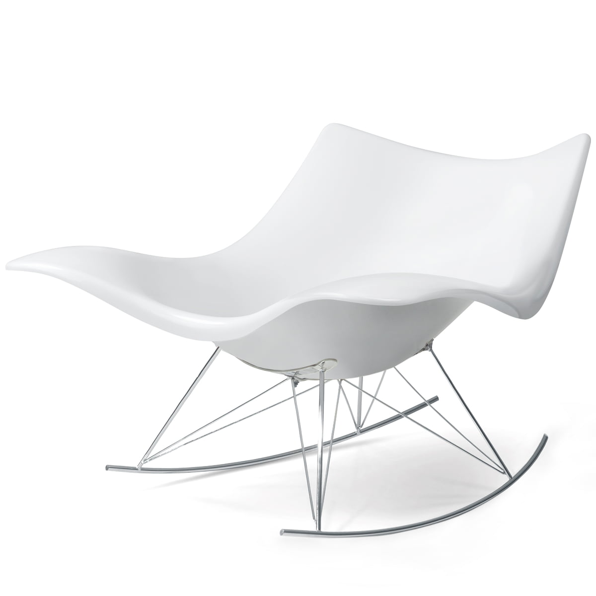 Terrific Fredericia Stingray Rocking Chair White Chrome Inzonedesignstudio Interior Chair Design Inzonedesignstudiocom
