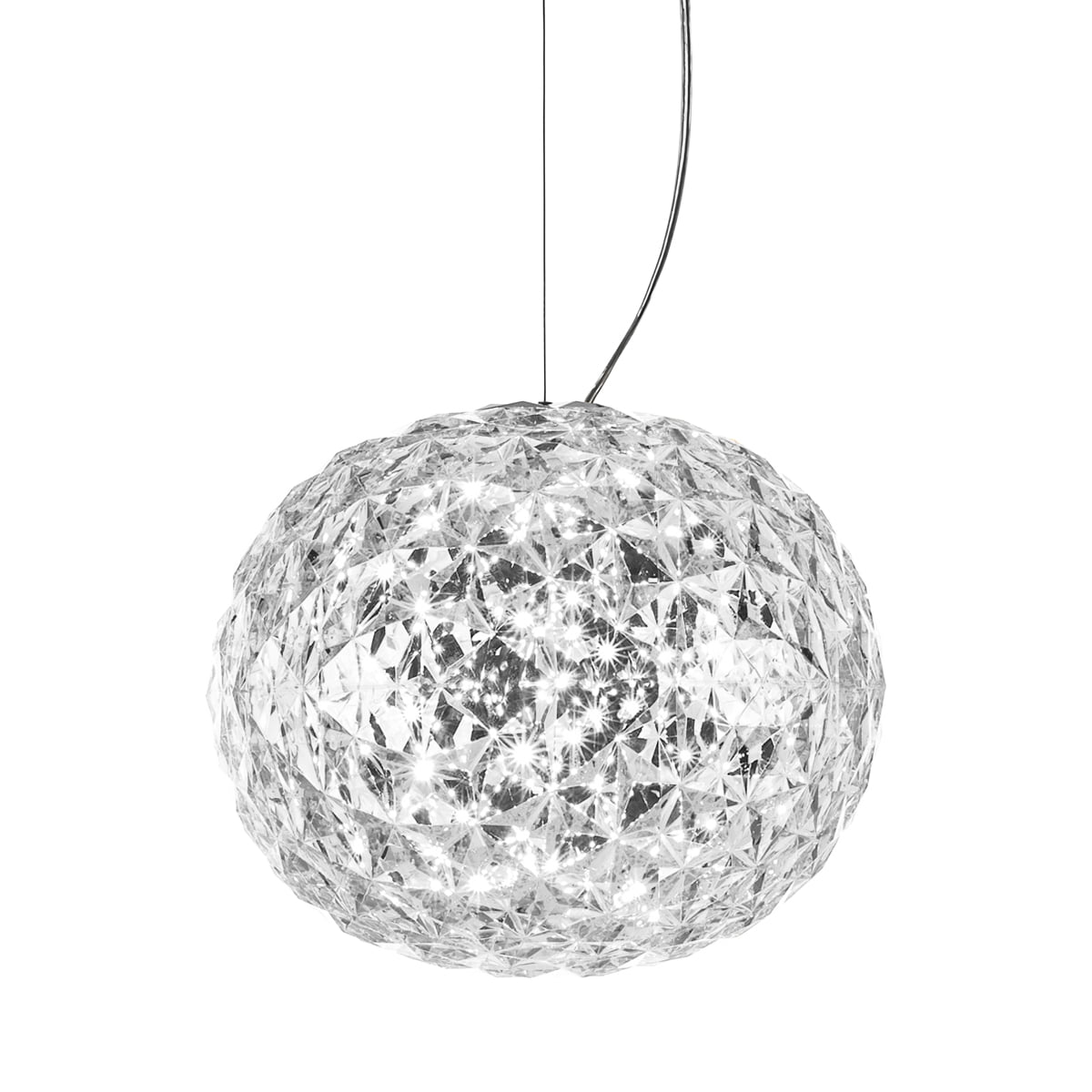 planet led pendant lamp from kartell in crystal clear