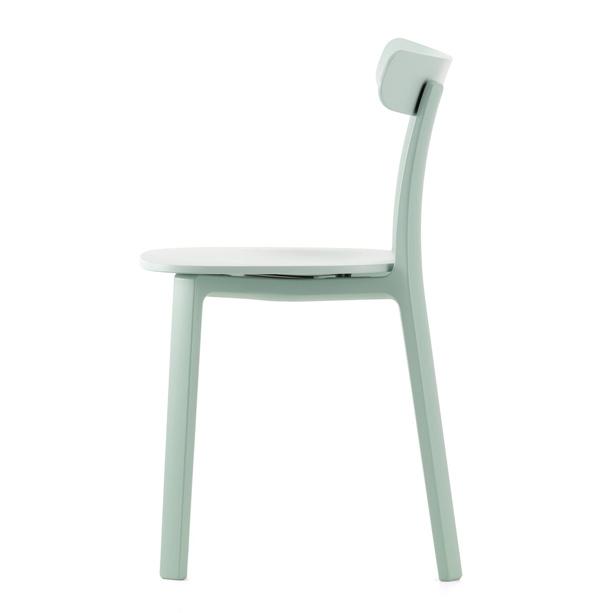 The all plastic chair in ice grey by vitra the comfortable chair with felt glides