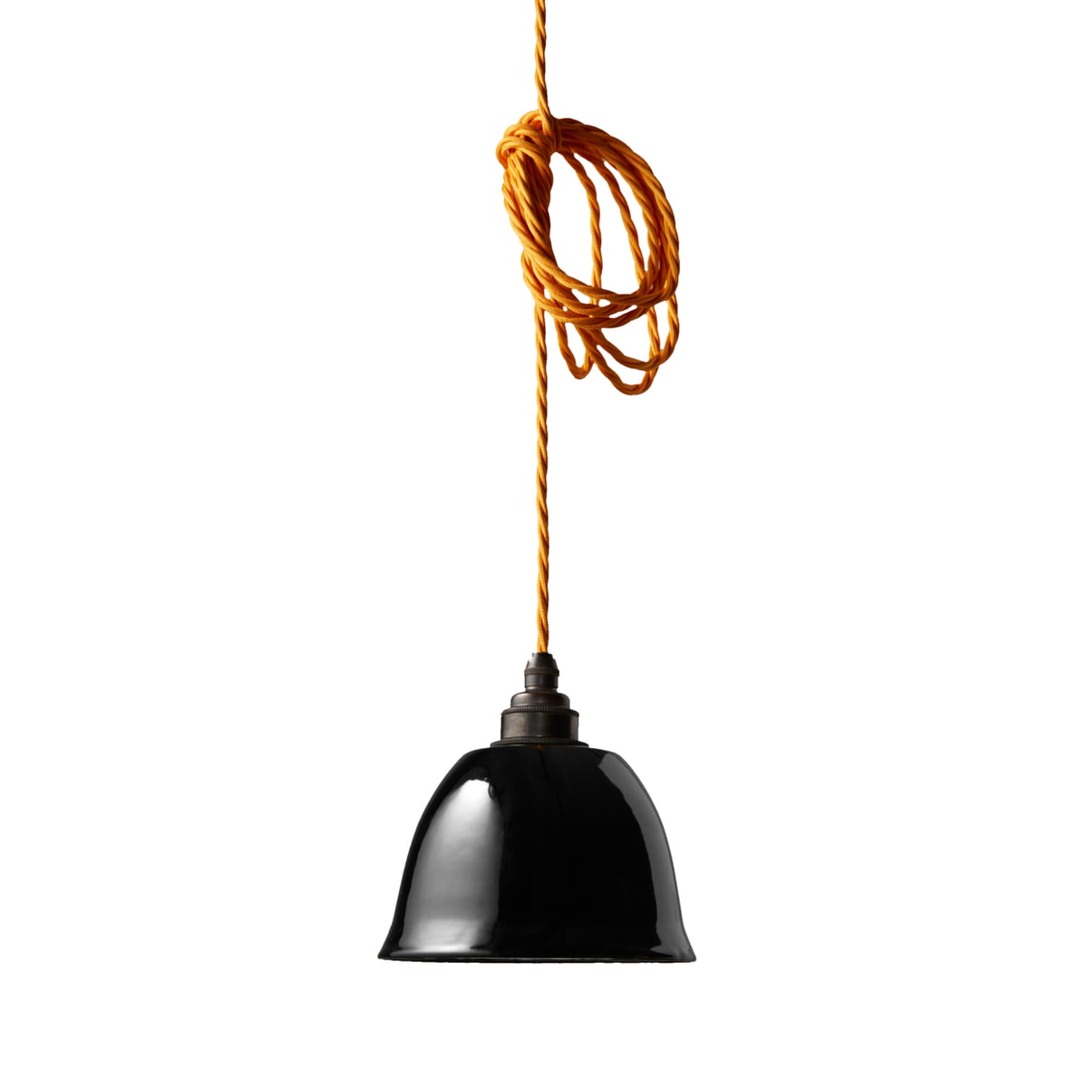 The Nook London   Miniature Bell Lamp Shade In Black With Yellow Cable