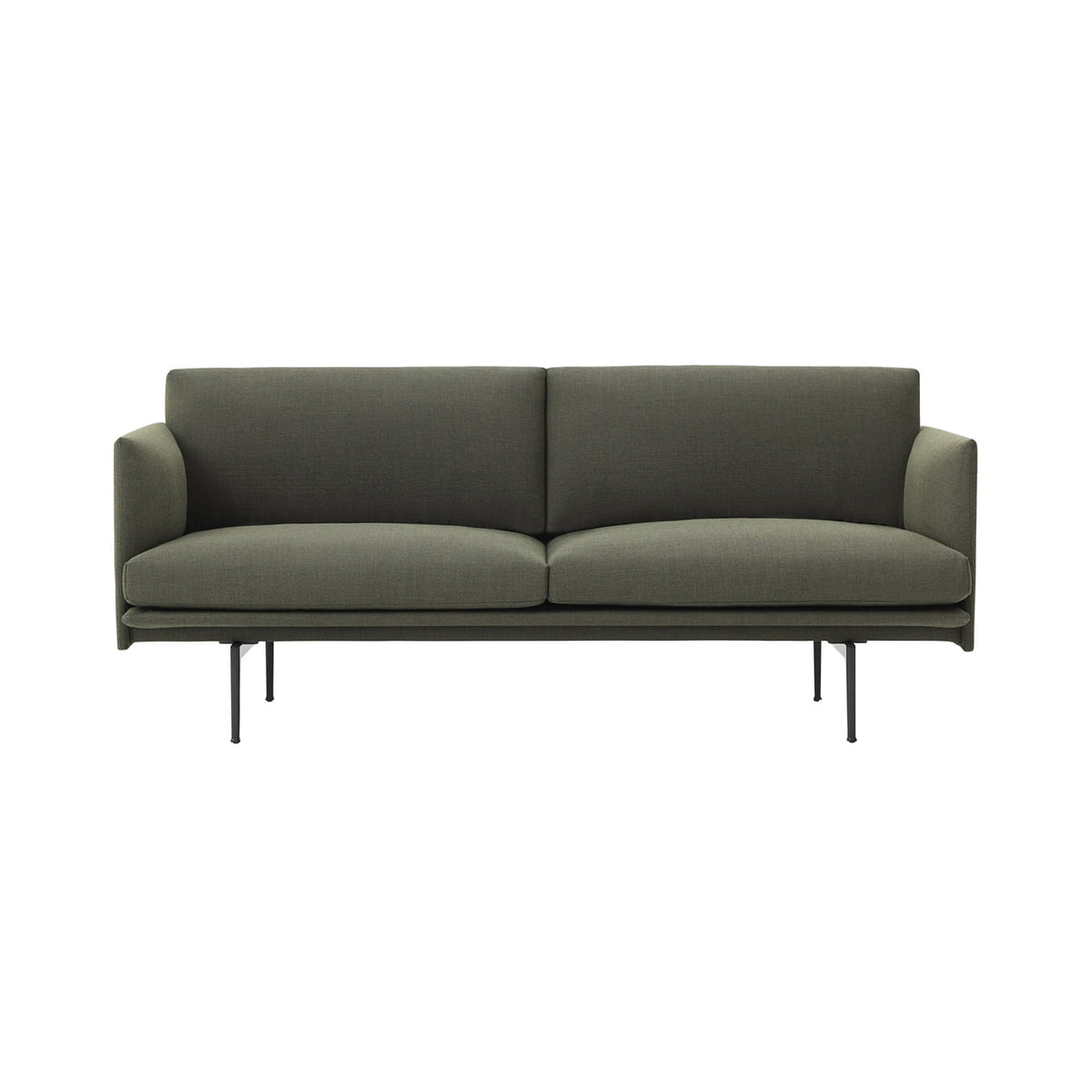 Muuto - Outline Sofa 2-seater, cognac silk leather / traffic black (RAL  9017)