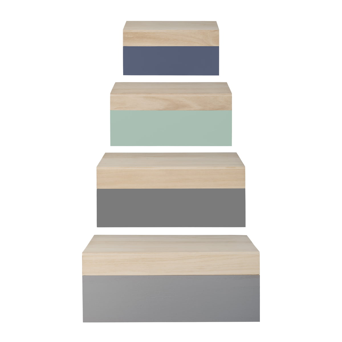 Bloomingville - Wooden Storage Boxes (set of 4) natural / pastel  sc 1 st  Connox & 4 Wooden Boxes by Bloomingville | Shop