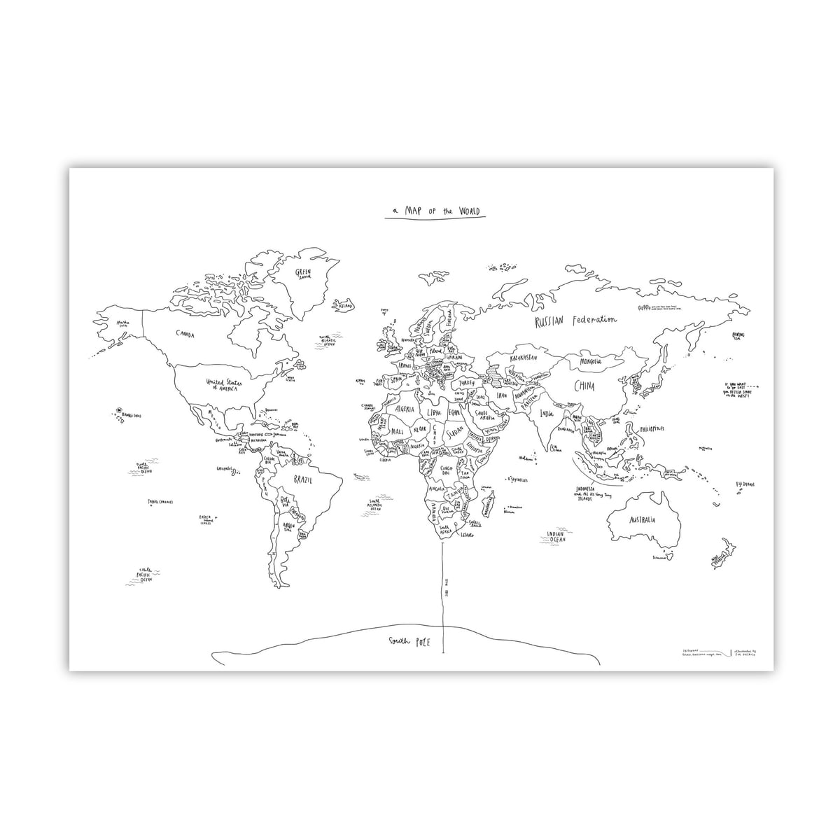 Sketch map world map by awesome maps shop awesome maps hand lettered world map sketch map gumiabroncs Image collections