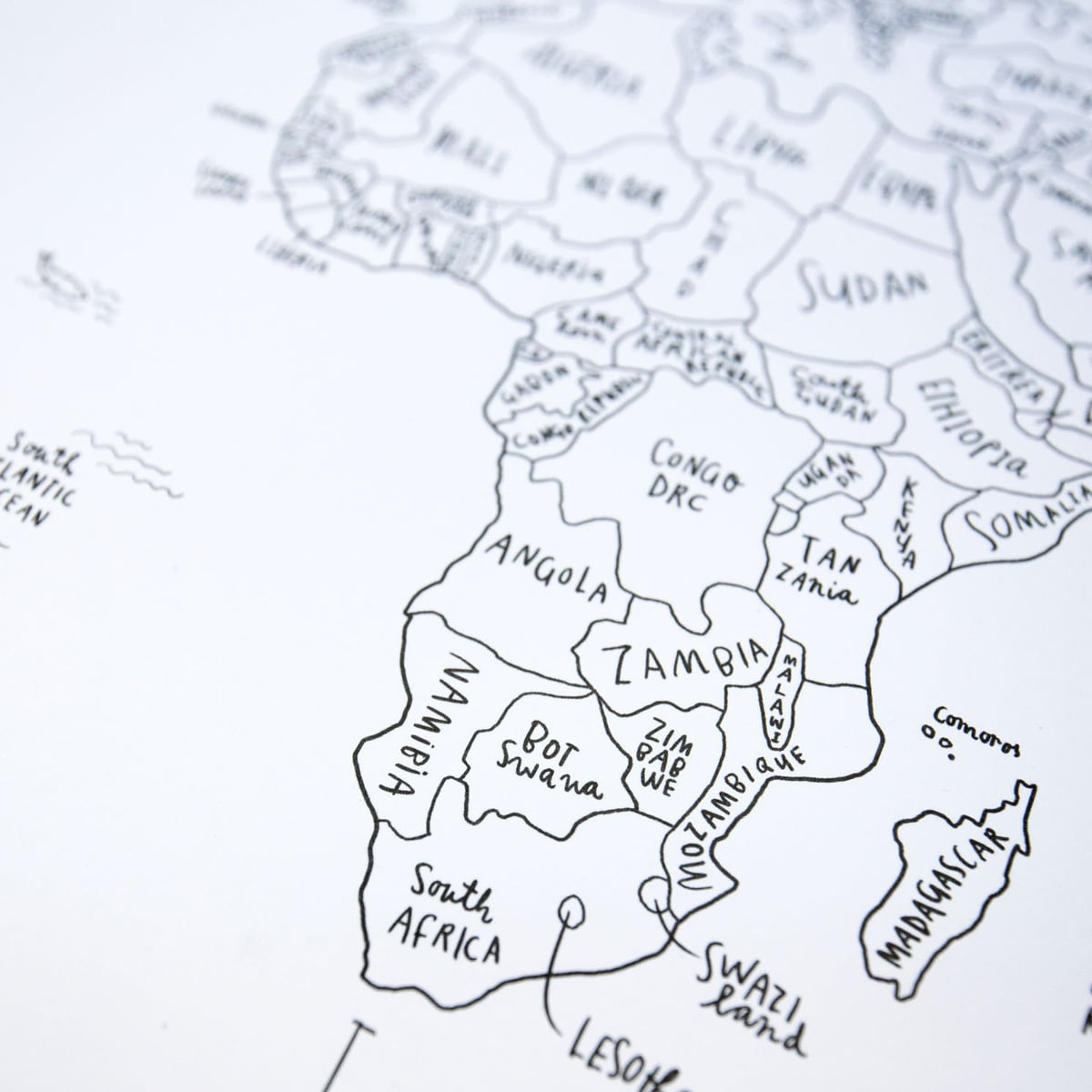 Sketch map world map by awesome maps shop awesome maps hand lettered world map sketch map gumiabroncs Choice Image