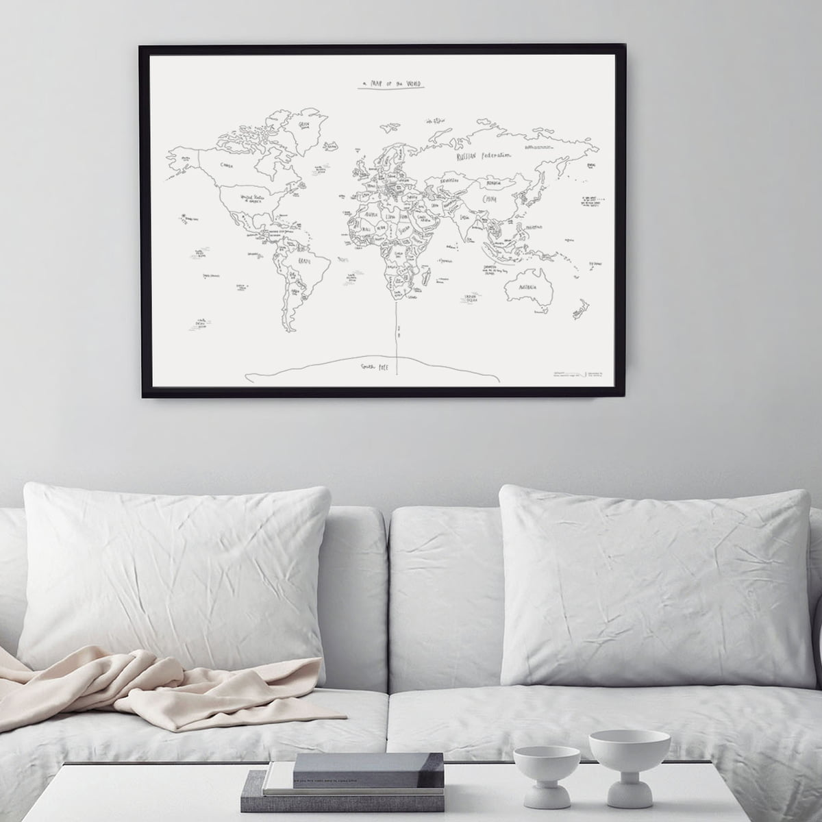 Sketch map world map by awesome maps shop awesome maps hand lettered world map sketch map gumiabroncs Images