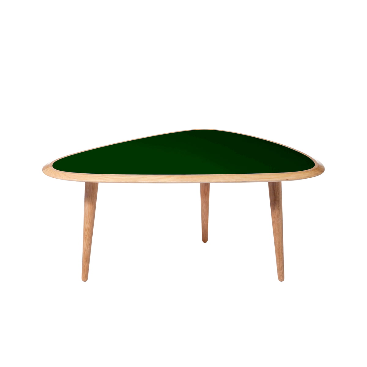 Red Edition   Fifties Side Table, Oak / Deep Green
