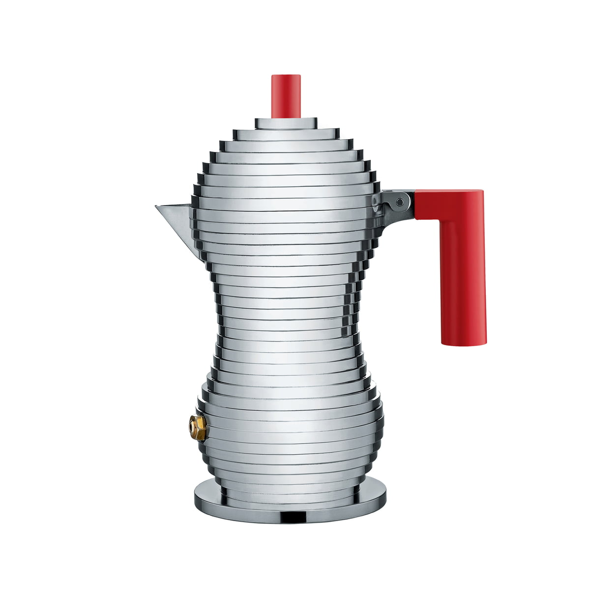Pulcina Espresso Coffee Maker 15 Cl Induction By Alessi In Red