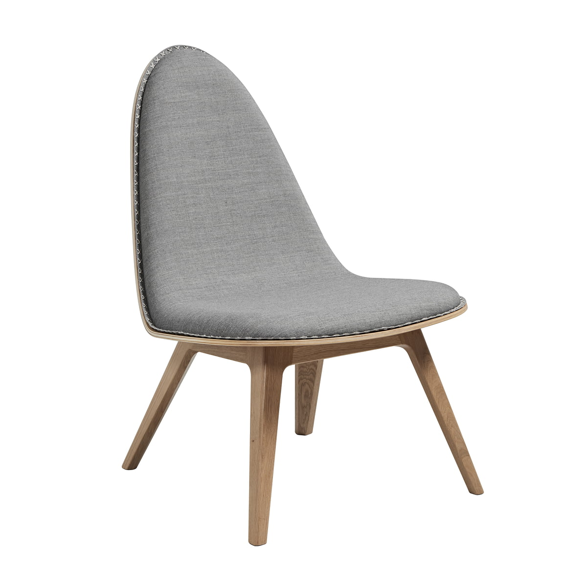 Nordic Lounge Chair By Sack It In Light Stained Oak / Light Gray Remix, With