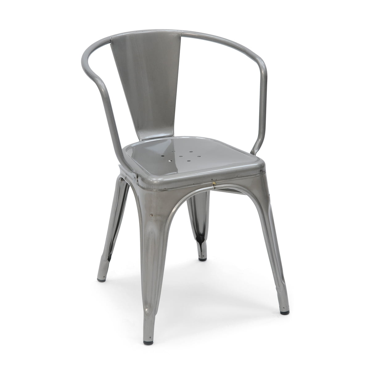 A56 Armchair By Tolix In Glossy Steel