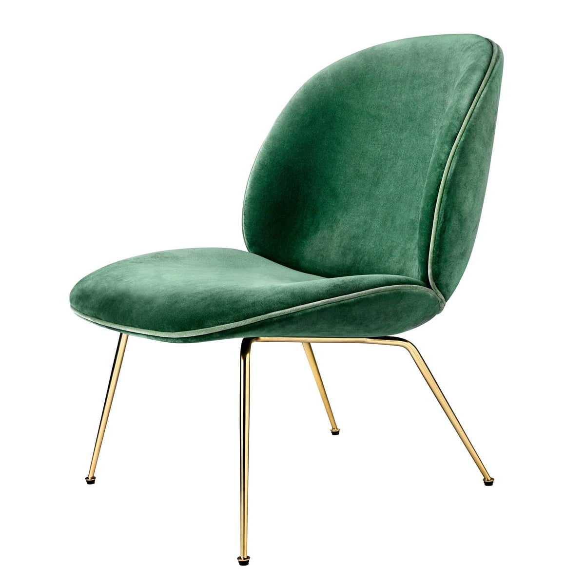 Charmant Beetle Lounge Chair, Conic Base, Brass / Velvet (green) By Gubi
