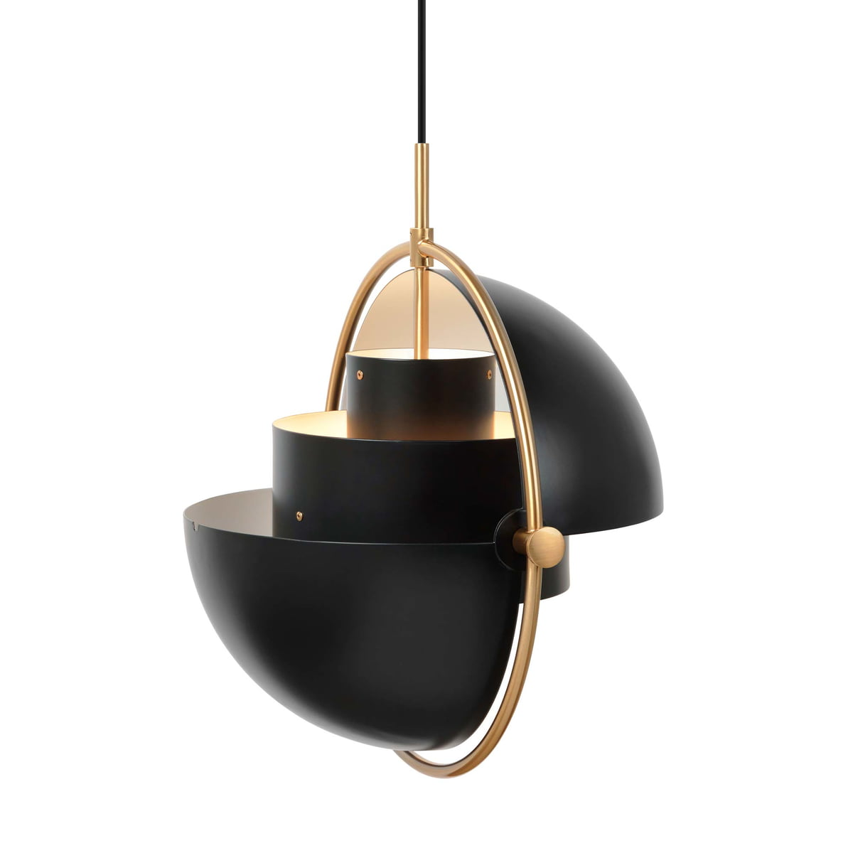 Multi Lite Pendant Light Ø 36 Cm By Gubi In Brass Black