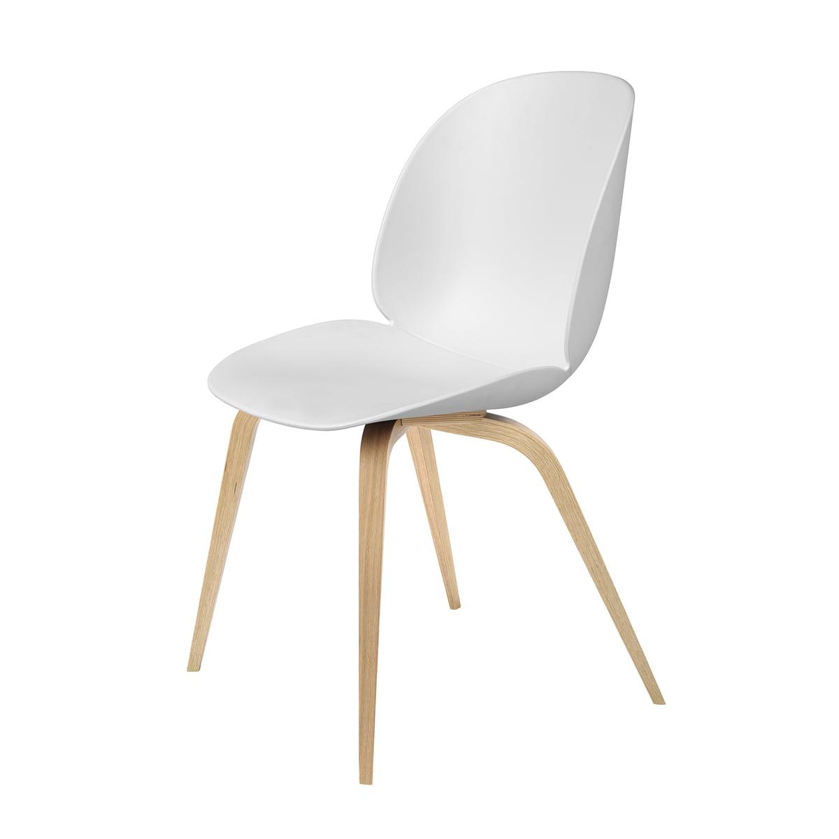 Gubi - Beetle Dining Chair, Wood Base, oak / white