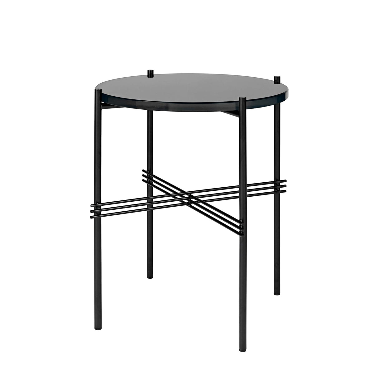 TS Coffee Table Ø 40 Cm In Black / Black Glass