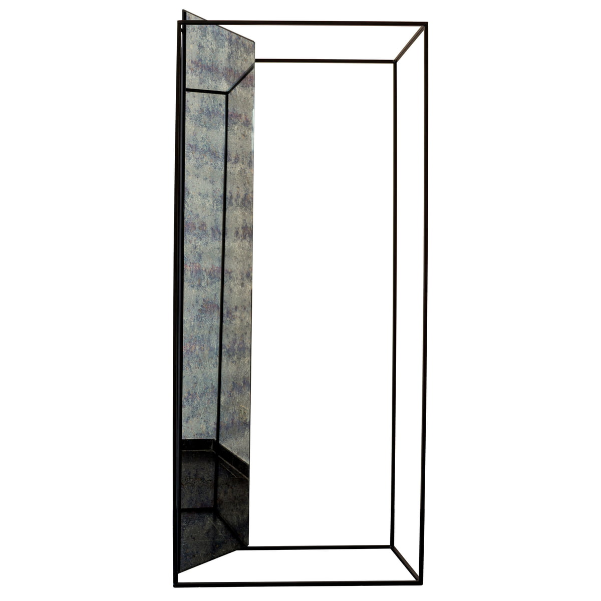 [Pulpo/풀포] Miro Mirror Hall Stand, antique glass / black (RAL 9005) // 미로 미러 홀 스탠드, 엔틱 글래스 / 블랙 (RAL 9005)
