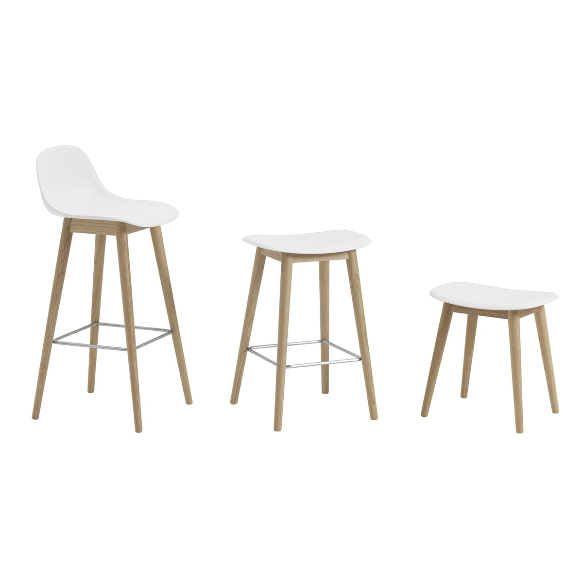 Fiber bar stool wood base by muuto connox for Barhocker cognac