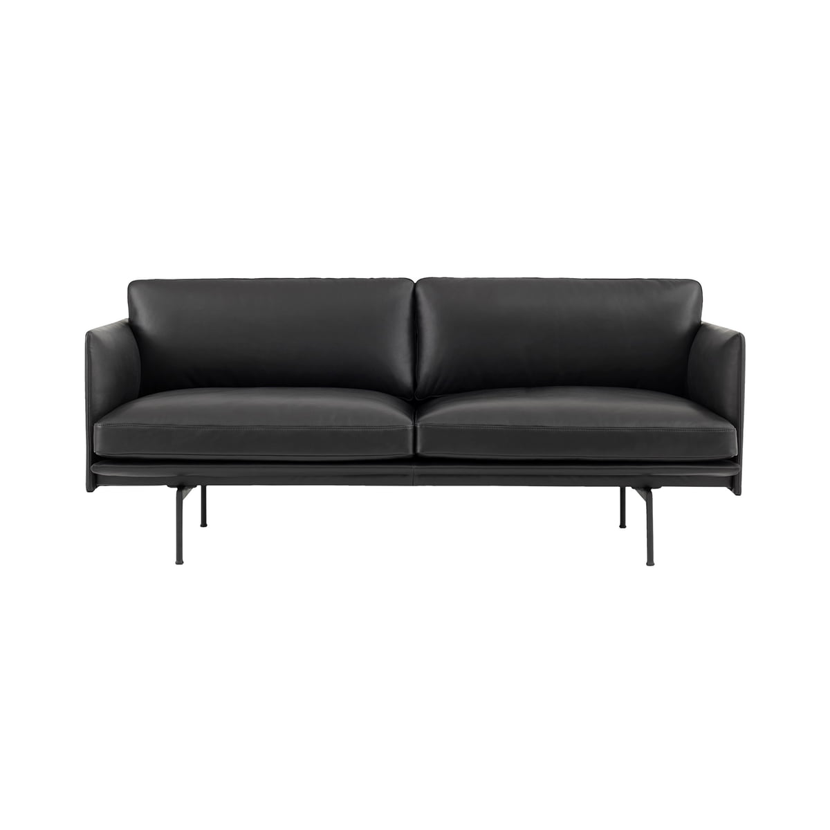 Outline Studio Sofa 2 Seater By Muuto In Black Leather