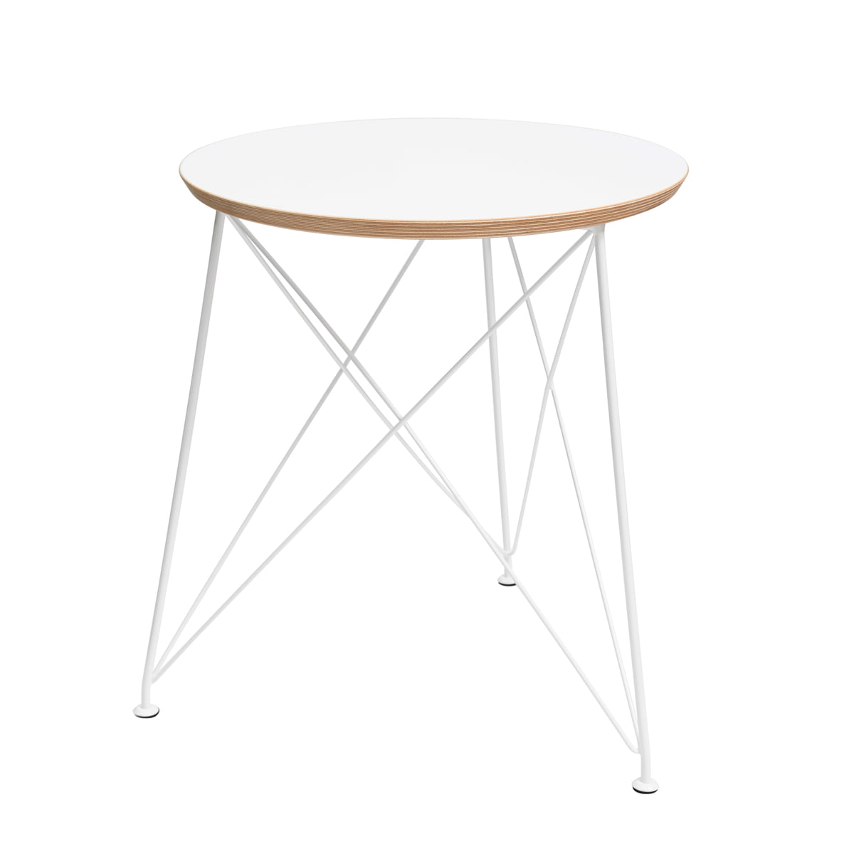 Brace Round Side Table With Steel Frame