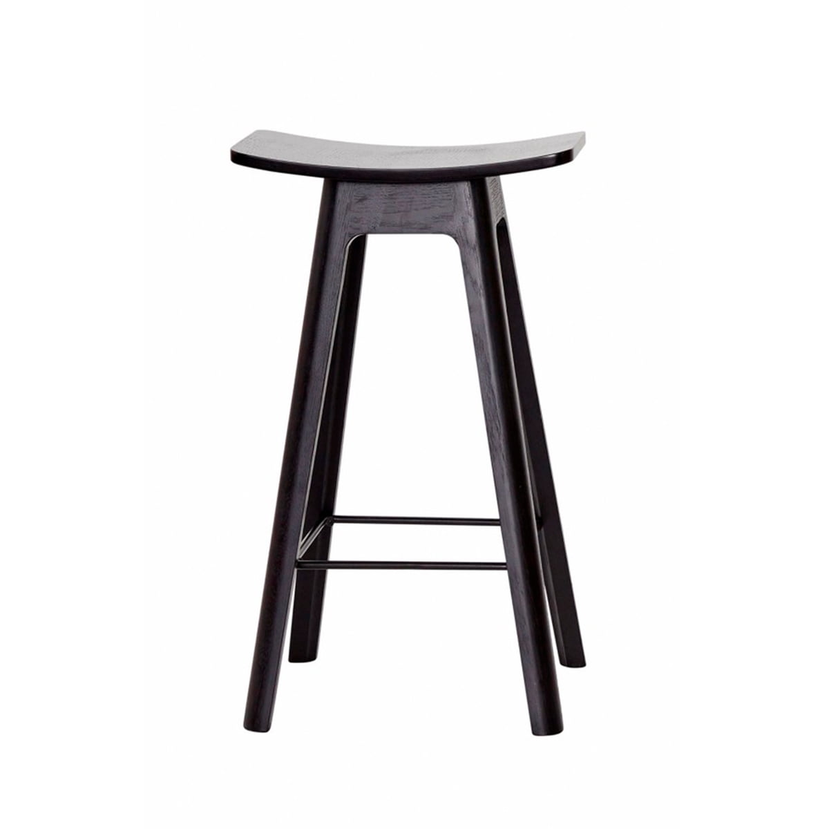 The Andersen Furniture   HC1 Bar Stool H 67 Cm, Black Frame / Black Veneer
