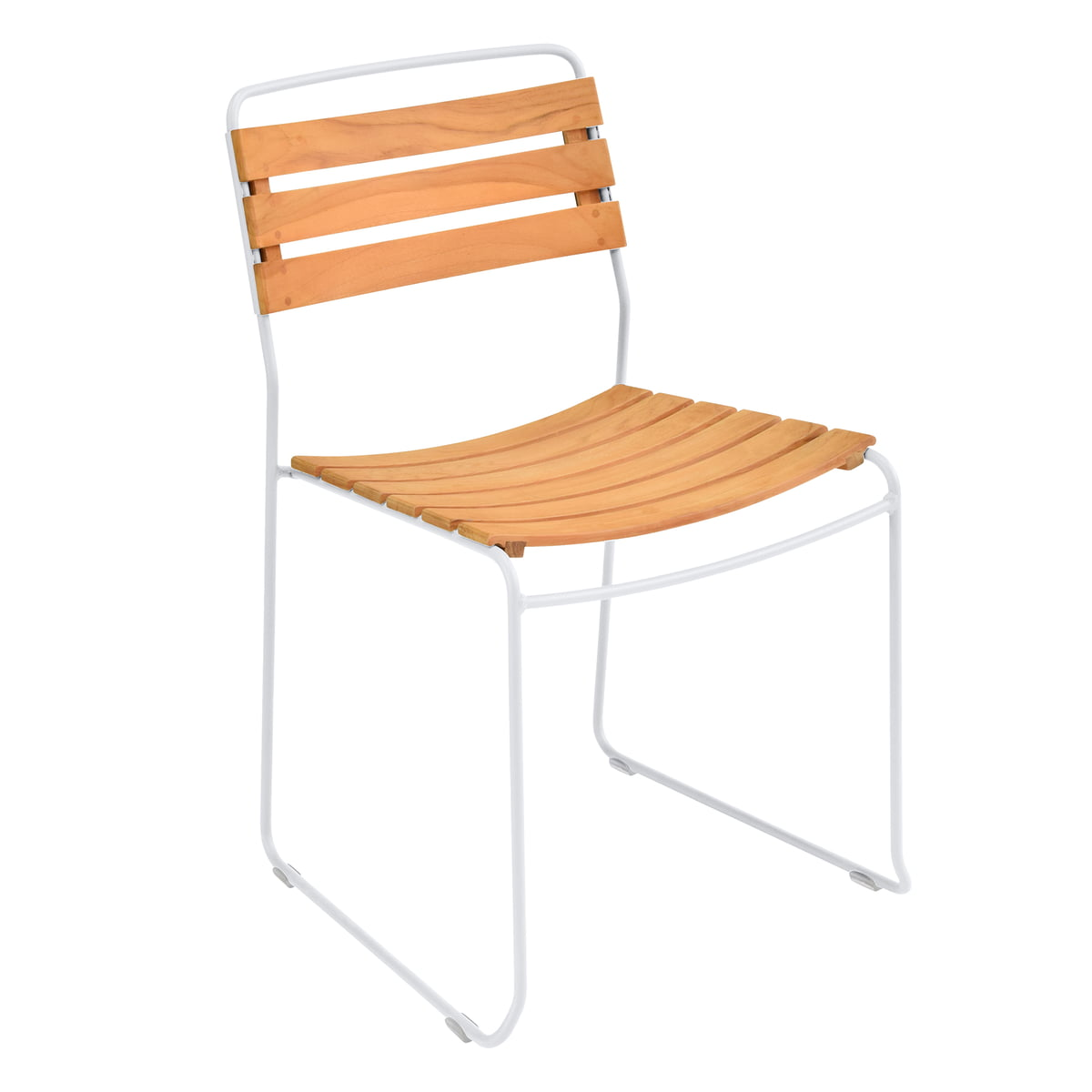 The Fermob   Surprising Teck Chair, Teak / Cotton White